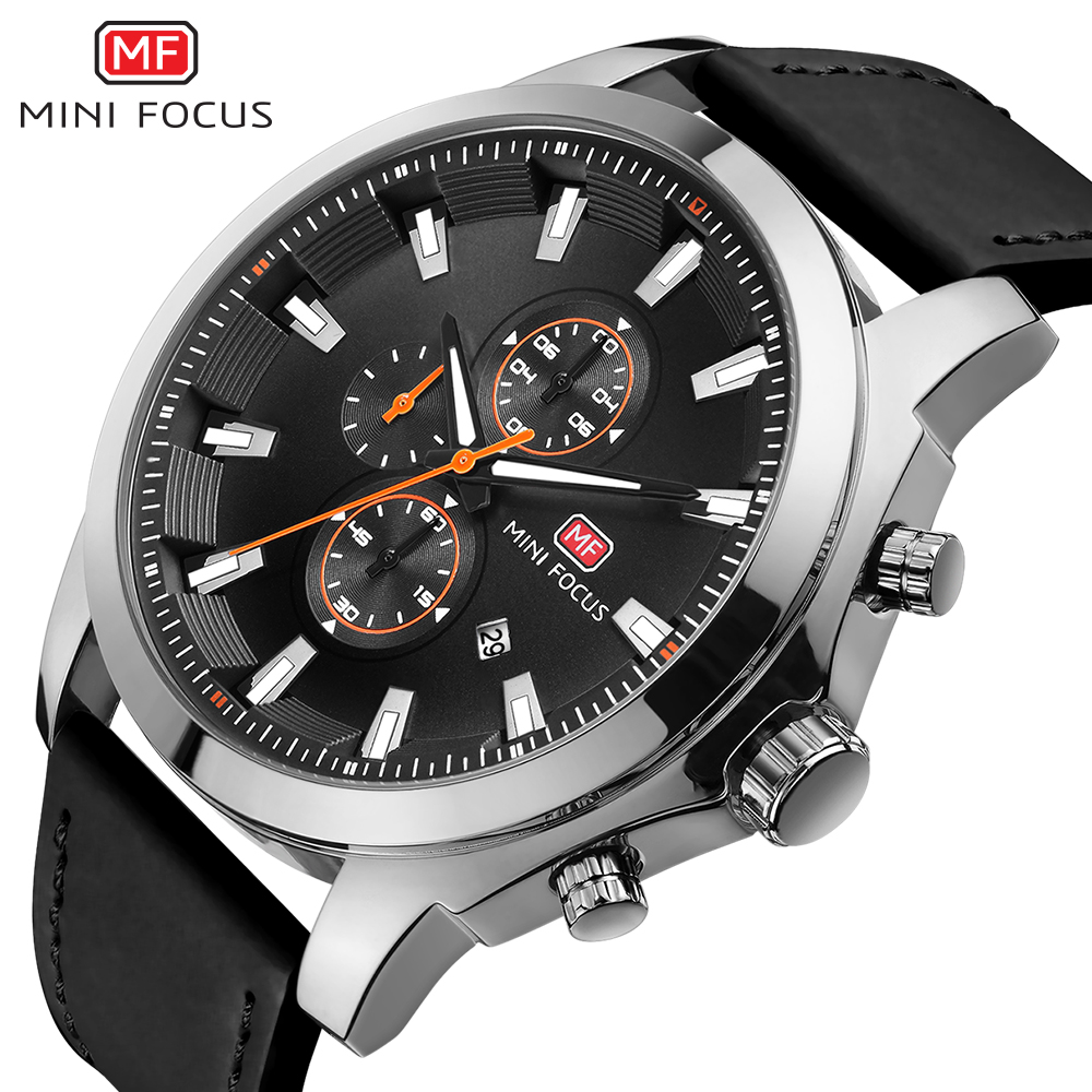Top Brand Luxury MINI FOCUS Chronograph Men Quartz Sports Watches Men Leather Military Watch Male Analog Clock relogio masculino mini focus top brand men stainless steel quartz watch luxury chronograph wristwatch calendar men sports watches male blue clock