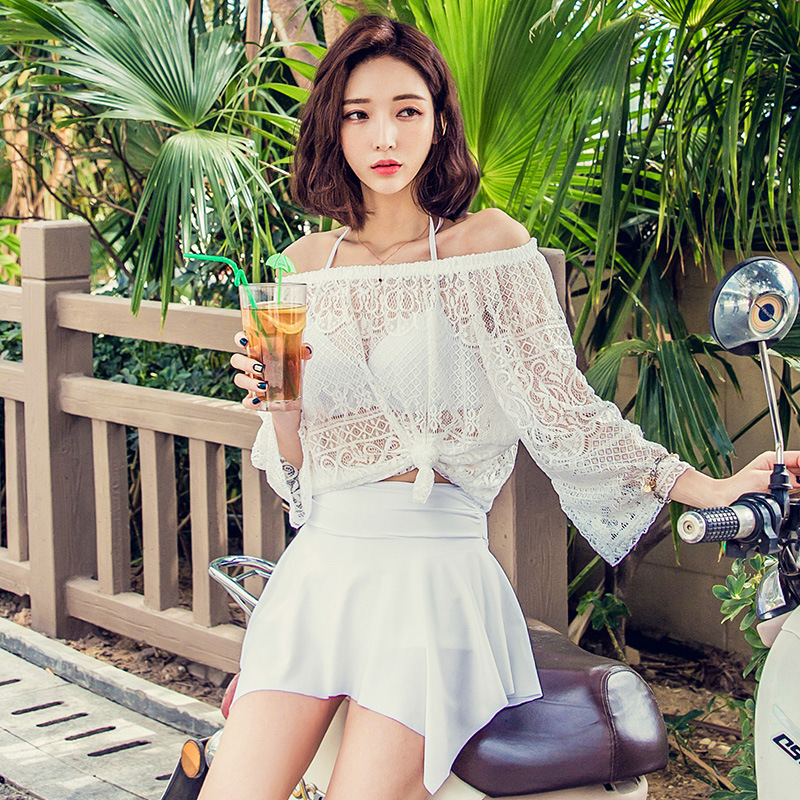 Swimsuit Female Three-piece Suit Sexy Steel Support Chest Shape Student Skirt Style Pants Hot Spring Swimwear A2248YPC