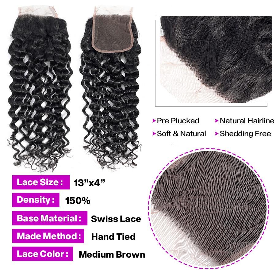 HTB14XcZXcrrK1RjSspaq6AREXXau Hermosa Water Wave Bundles With Closure Brazilian Hair Bundles With Closure Non-Remy Hair 3 Bundles With Closure Middle Ratio
