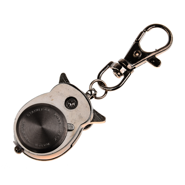 Owl Pocket Watch with Key Chain 40 x 25 mm Silver
