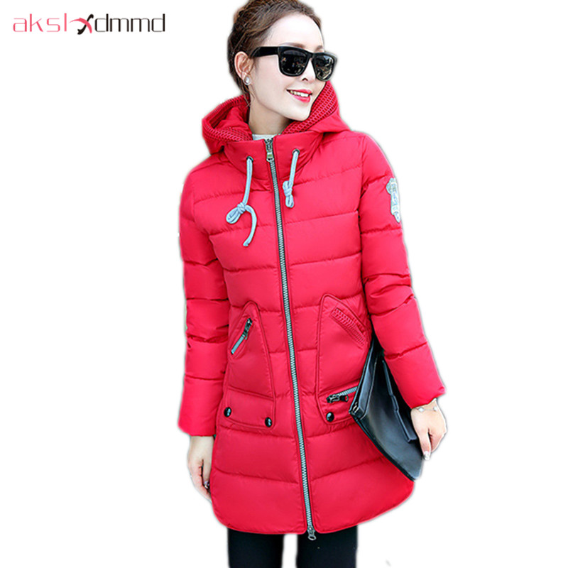 AKSLXDMMD   Parkas   Mujer 2019 New Plus Size Winter Women Jacket Thick Padded-cotton Hooded Slim Thick Coat Female LH1107