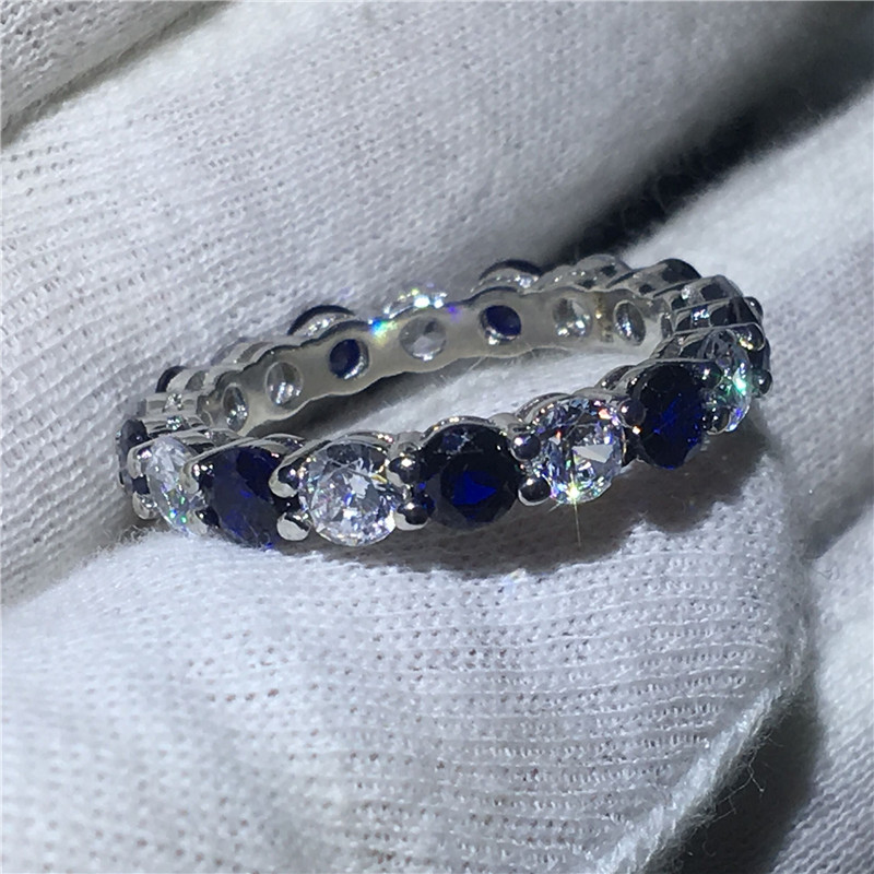 Handmade Finger Jewelry 925 Sterling Silver ring Sona Blue 5A zircon Stone Engagement Wedding Band Rings for women men Gift