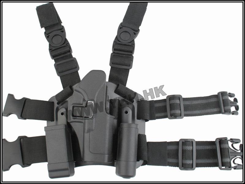 CQC For Glock 17/22/31 전술 에어 소프트 페인트 볼 Puttee 드롭 레그 RH 홀스터 승 / Mag 손전등 파우치 벨트 루프 패들 블랙