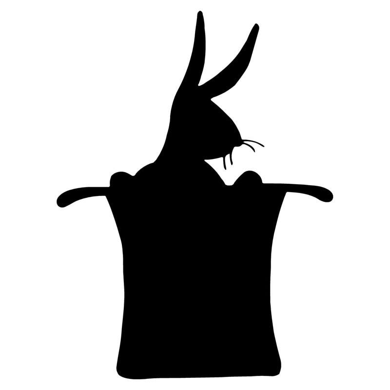 9.6*12.7CM Individual Car Stickers Rabbit Hat Magic Car Styling Vinyl Decals Accessories Black/Silver C9-1685