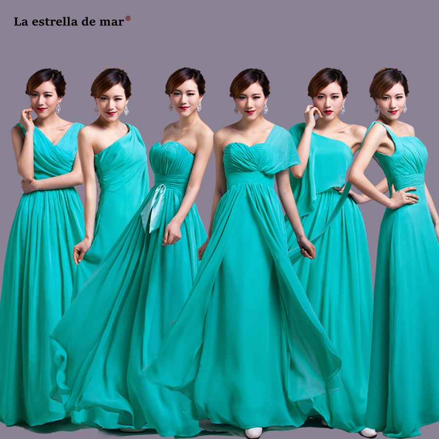 La estrella de mar vestidos de madrinha 2019 new chiffon 6 style a Line turquoise   bridesmaid     dress   long long plus size cheap