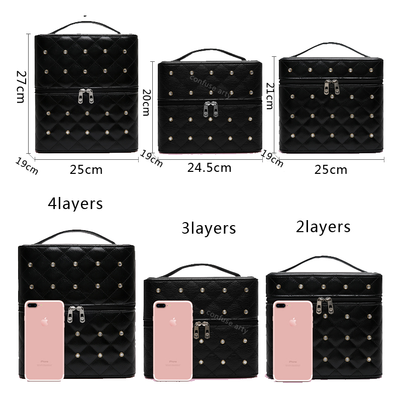 Image 5 - Makeup Bag High Quality Lovely Cosmetic Box Women casual Folding Layers Professional Travel Storage Case Large Capacity Suitcasemakeup bagtravel storage caselovely cosmetics -