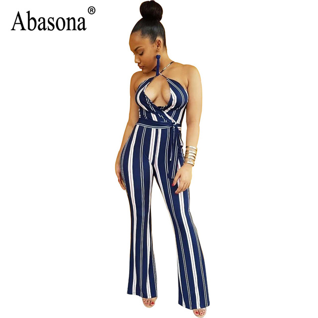 9d3db5fc64 Abasona Wide Leg Sexy Jumpsuits Summer Sleeveless Backless Beach Overalls  Bodysuit Casual Strip Rompers Womens Jumpsuit Female