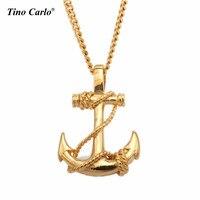 Carlo Tino Nowy Anchor Naszyjniki Dla Mężczyzn Kobiety 316L Ze Stali Nierdzewnej Złoty Łańcuch Naszyjnik W Stylu Marynarki Moda Biżuteria