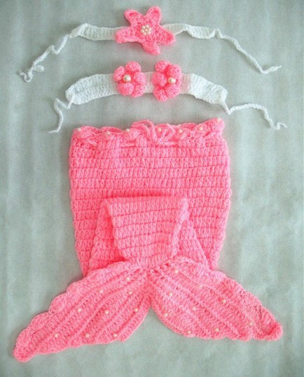 Crocheted Mermaid Tailtiara Seashell Top Photography Prop