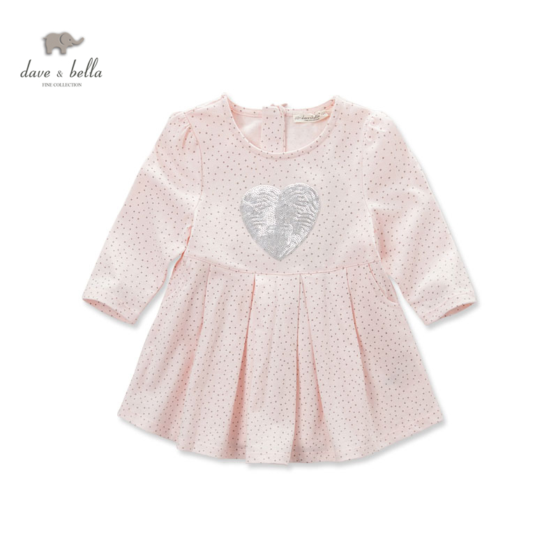 DB3277dave bella spring autumn baby girl pink Princess dress infant clothes girls cotton sweet dress baby birthday dress db3943 dave bella autumn baby girl pink dress infant clothes girls lace dress baby lantern sleeve birthday dress