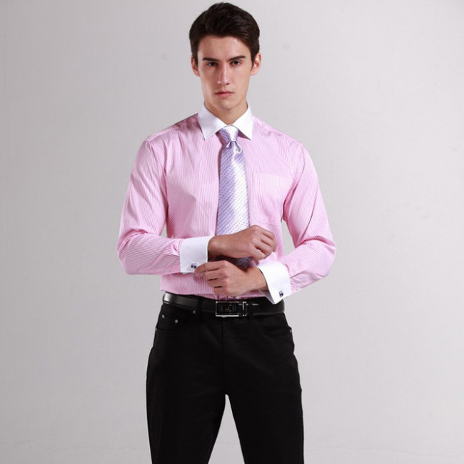 Spring 2014 new arrival mens french cuff shirts long for Mens red and white striped dress shirt