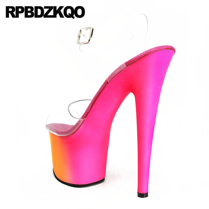 Fetish Transparent High Heels Shoes Luxury Stripper Clear Strap Platform Exotic Dancer Women Sandals Pumps Peep Toe Stiletto Pvc