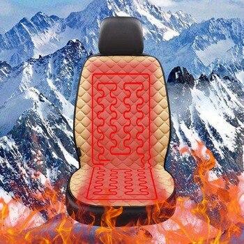 AUTOYOUTH 12 v Verwarmde Auto Zitkussen Protector Voor Winter Verwarming Warm Universal 100% Katoenen Doek 1 stks/2 stks Beige/Zwart
