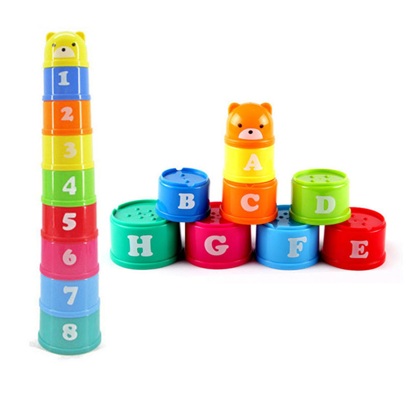 9pcs/set Educational Baby Toys 6-24 Month Figures Letters Foldind Stack Cup Tower Children Early Intelligence Babies Games