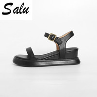 Salu Genuine leather Woman sandals Basic casual Wedges Shoes woman size34 39 summer black apricot Freeshipping