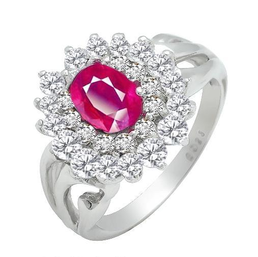 Natural Pink Ruby Ring Oval In 925 Sterling Silver Fancy Sapphire Jewelry Fashion Elegan ...