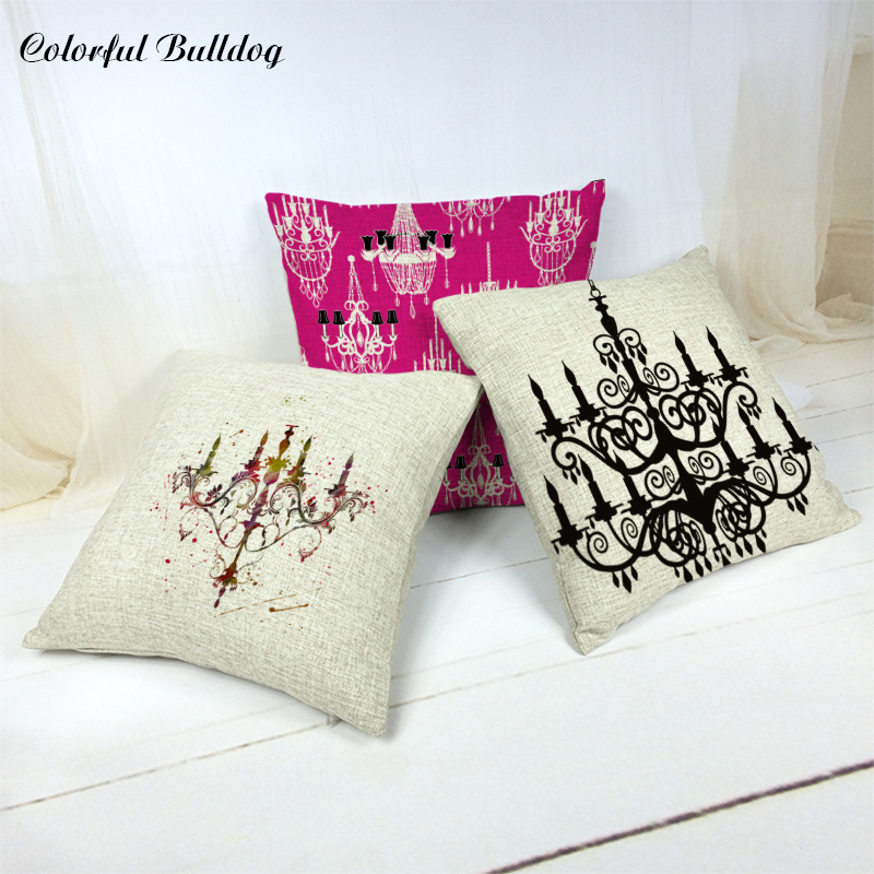 European Style Hanging Lights Cushion Cover Vintage Western Floor 45*45Cm Polyester City Decor Home Living Room Throw Pillowcase