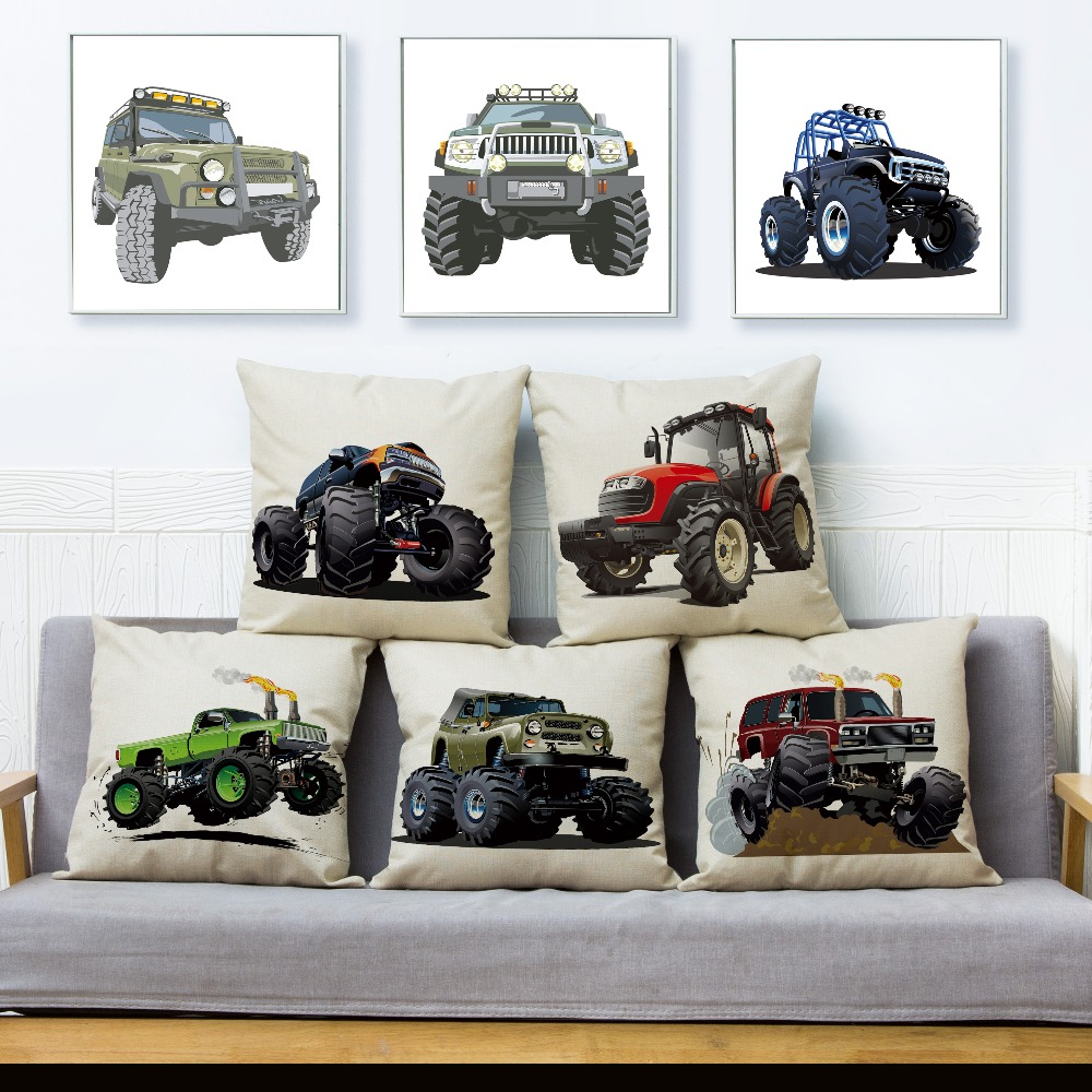 USA Cartoon Monster Truck Car SUV Pattern Cushion Cover Linen Pillow Covers 45*45cm Pillows Case Home Decor Pillowcase