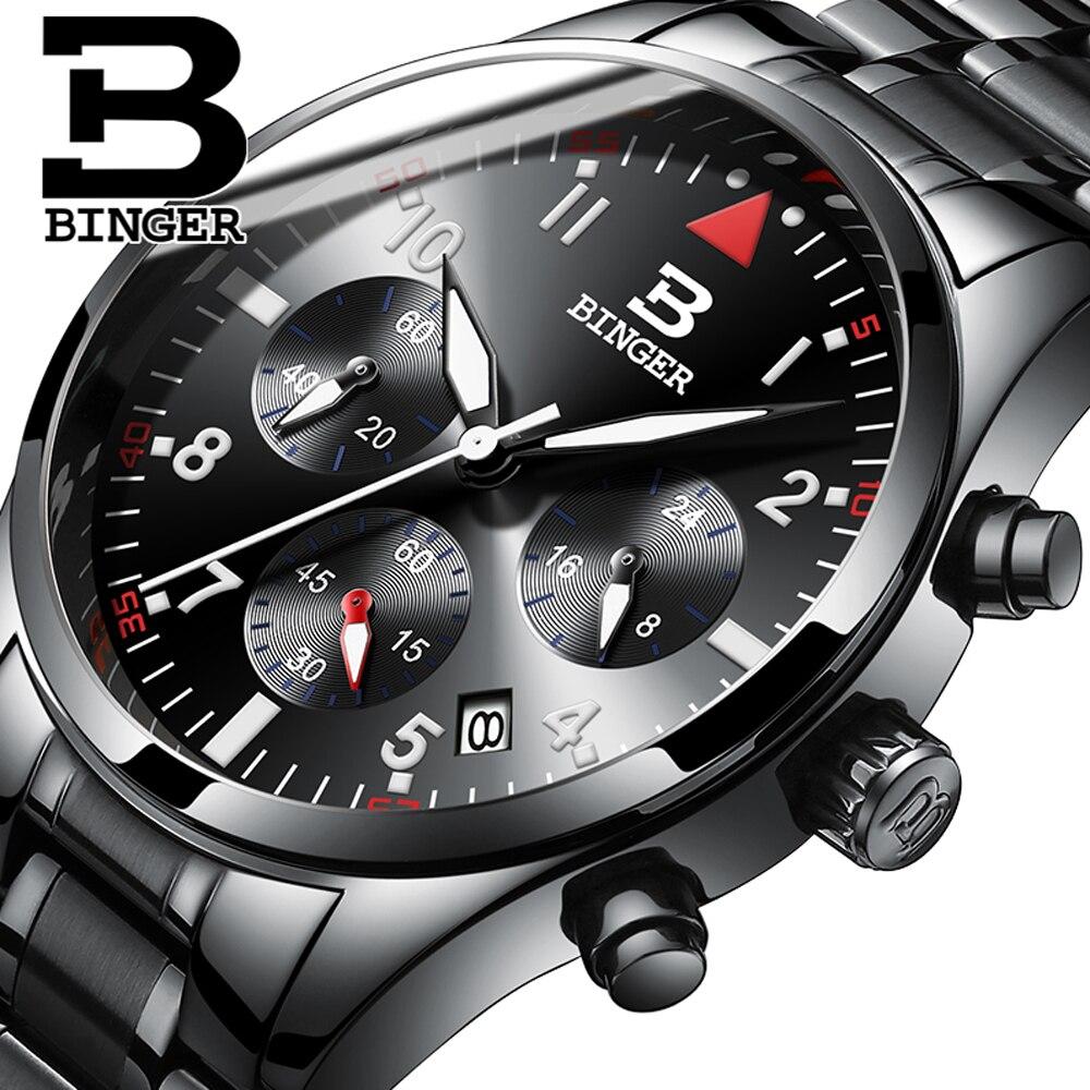 Relogio Masculino nouveaux hommes montres étanche homme Sport montre à Quartz affaires de mode militaire en acier noir BINGER montre-bracelet