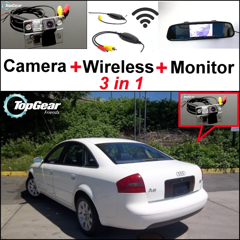 3 in1 Special Rear View Wifi Camera + Wireless Receiver + Mirror Monitor Easy Parking System For Audi A6 S6 RS6 C5 MK5 1997~2004 3 in1 special rear view camera wireless receiver mirror monitor back up parking system for honda jazz 5d 2002 2013
