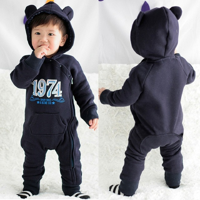2015 Autumn Winter Baby Rompers Infant One Piece Newborn Brand  Hoodies Jumpsuit Baby Girl Boy Clothing free shipping