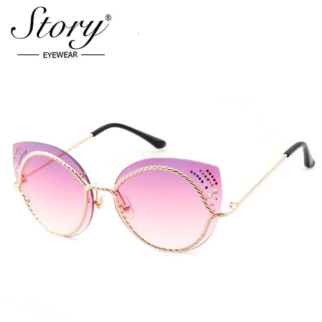 40e0da5e0a376 STORY Sunglasses Brand Cat Eye Womens Sunglasses Diamond Gradient Female  Sun Glasses Alloy Legs Rimless Woman