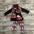 2016 new Halloween FALL/Winter baby girls OUTFITS 3 pieces scarf black orange BOO top Pumpkin Aztec pant  boutique clothes sets