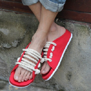 1cd38a58a sandals couple shoes fashionable casual slippers yeezy creative hemp  cordage slippers the same paragraph of Piece flip flops hot-in Women s  Sandals from ...