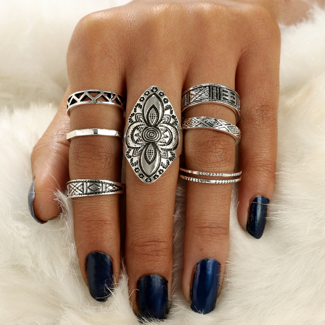 docona Bohemia Style 8pcs/set Antique Silver Rings Classic Pattern Flower Carving RING WOMEN Tribal Knuckle Ring Jewelry 3449