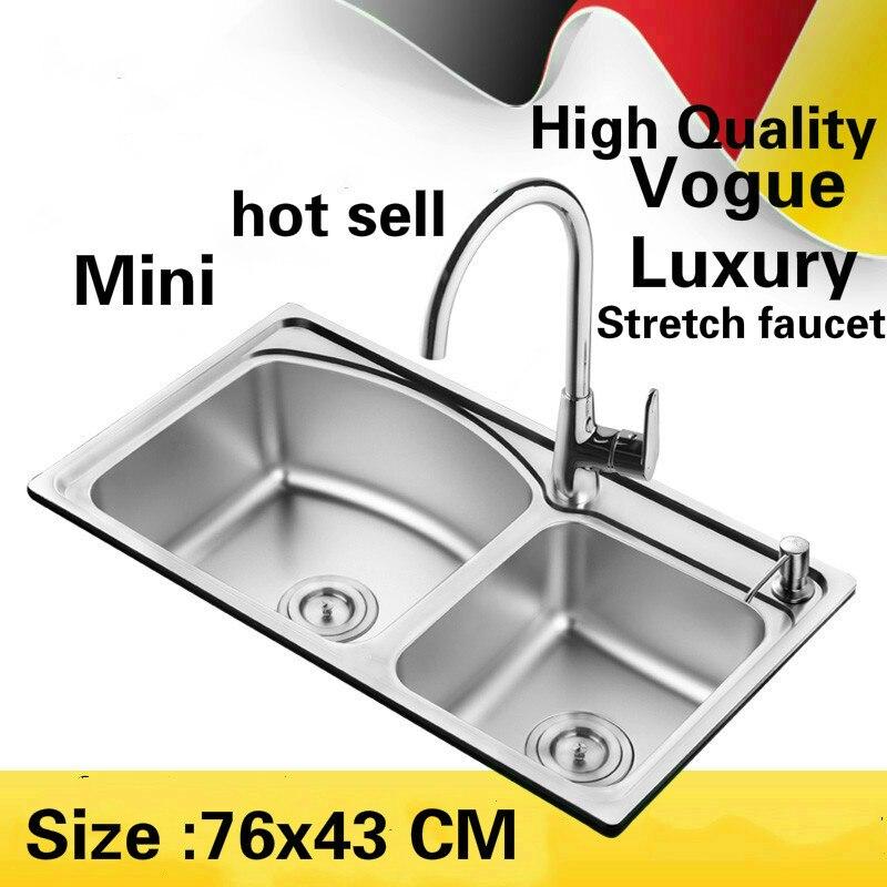 Livraison gratuite appartement de luxe cuisine double rainure évier stretch robinet lavage légumes 304 acier inoxydable vente chaude 76x43 CM