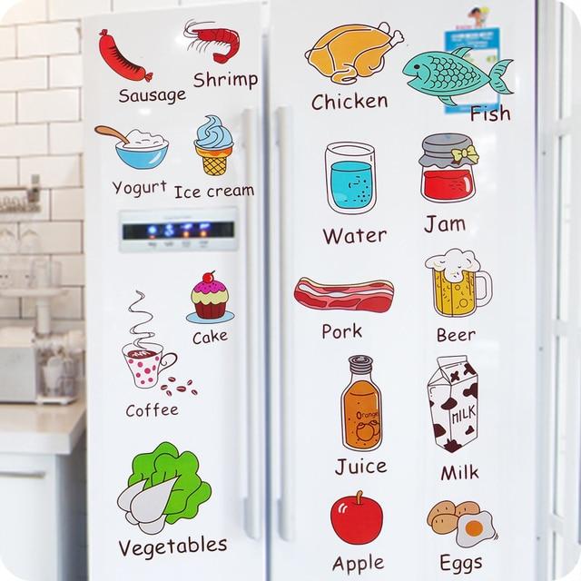 Us 50 Kreative Cartoon Aufkleber Küchenschrank Tür Kühlschrankmagnet Schmücken Obst Lebensmittel Entfernen Wandaufkleber Kinder Spielzeug In