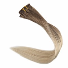 Full Shine Hair Clip Ombre Color#8 Ash Brown Fading To 60 Platinum Blonde 7Pcs 50g 100% Real Remy Human In Extensions