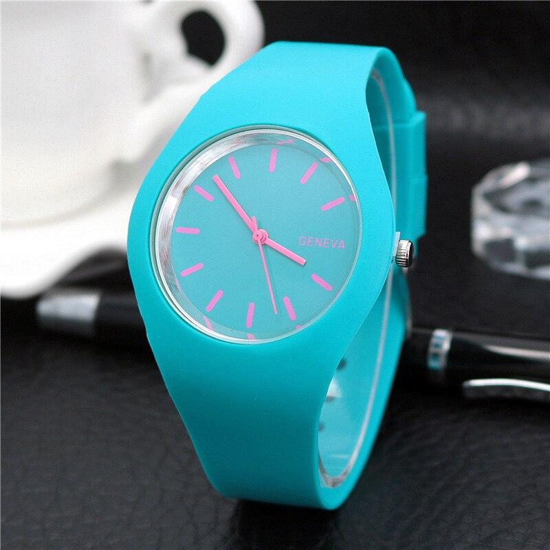 1 шт Женские кварцевые часы конфетного цвета циферблат с силиконовым ремешком LXH
