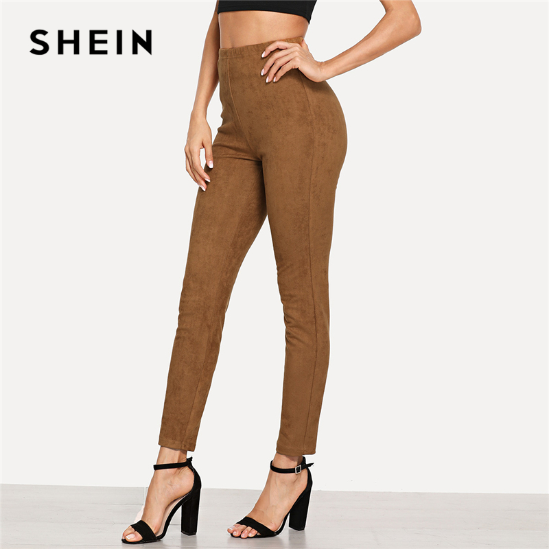 SHEIN Brown Elegant Office Lady Solid Suede Skinny   Leggings   2018 Autumn Highstreet Workwear Women Pants Trousers