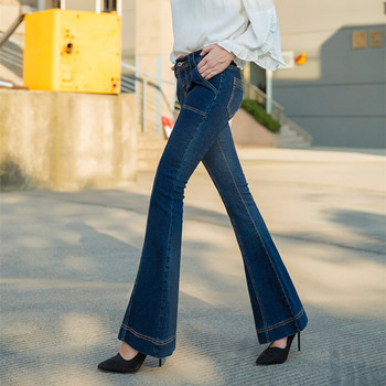 Free Shipping 2019 New Fashion Long Jeans Pants For Women Flare Trousers Plus Size 25-30 Denim Autumn Blue Stretch Jeans цена 2017