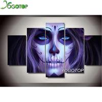 YOGOTOP Diy Diamond Painting Cross Stitch Needlework Square Mosaic Diamond Embroidery Handmade Crafts Skull Woman 5pcs/set QW001