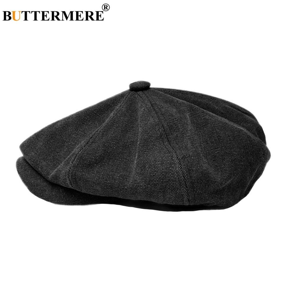BUTTERMERE Octagonal Cap Men Black Cotton Newsboy Cap Male Brand Designer British Gatsby Hats Spring Summer Painter Duckbill Hat