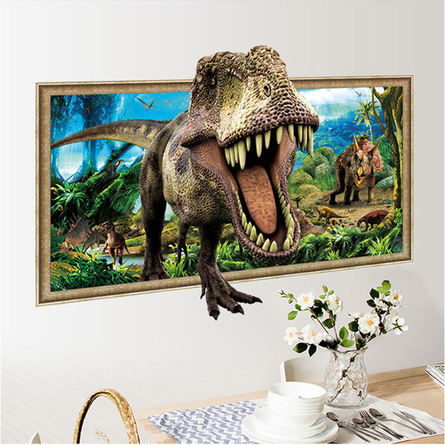 3d simulation photo frame dinosaur wall stickers for kids rooms home