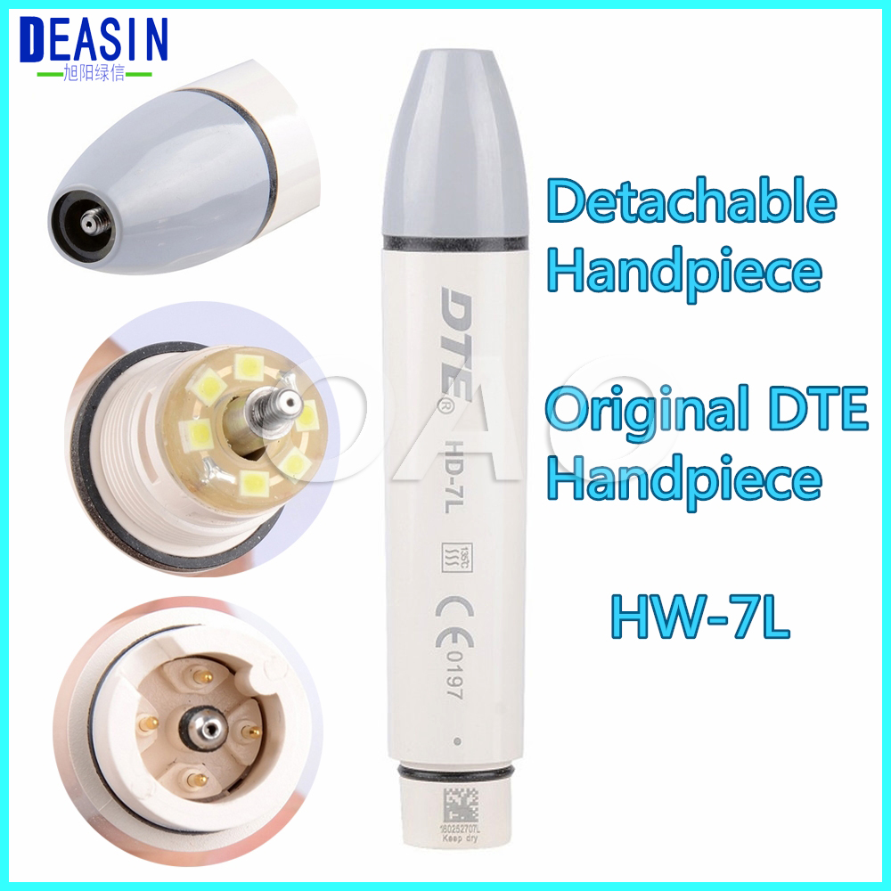 Deasin 2018 original woodpecker Dental LED Light Ultrasonic Piezo Scaler Handpiece fit for DTE SATELEC Scaling Tips HD-7L dental ultrasonic piezo scaler fiber optic led handpiece fit dte satelec hs 7l