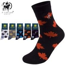 Высокое качество, бренд PIER POLO, новинка, кленовые носки с листьями, модные, повседневные, хлопковые, рабочие, с вышивкой, Осень-зима, мужские носки
