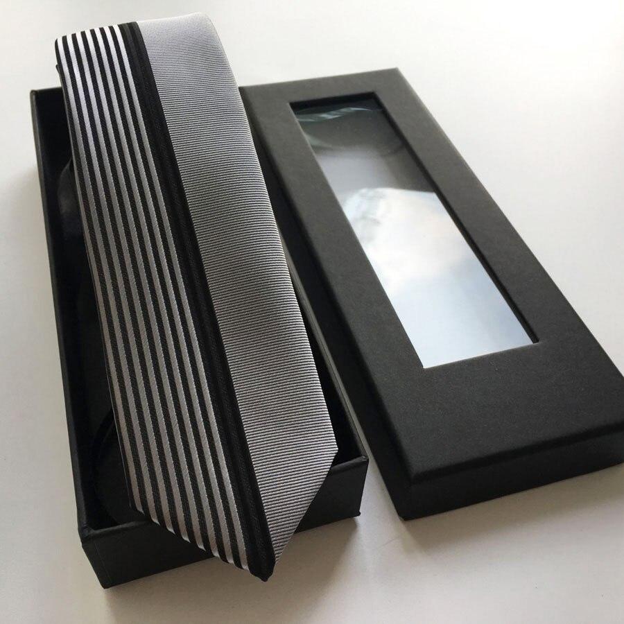 Lingyao мужской топовый дизайнерский галстук, галстук для свадьбы, полуоднотонный серебристый с черными вертикальными полосками в подарочной коробке - Цвет: Set with Box
