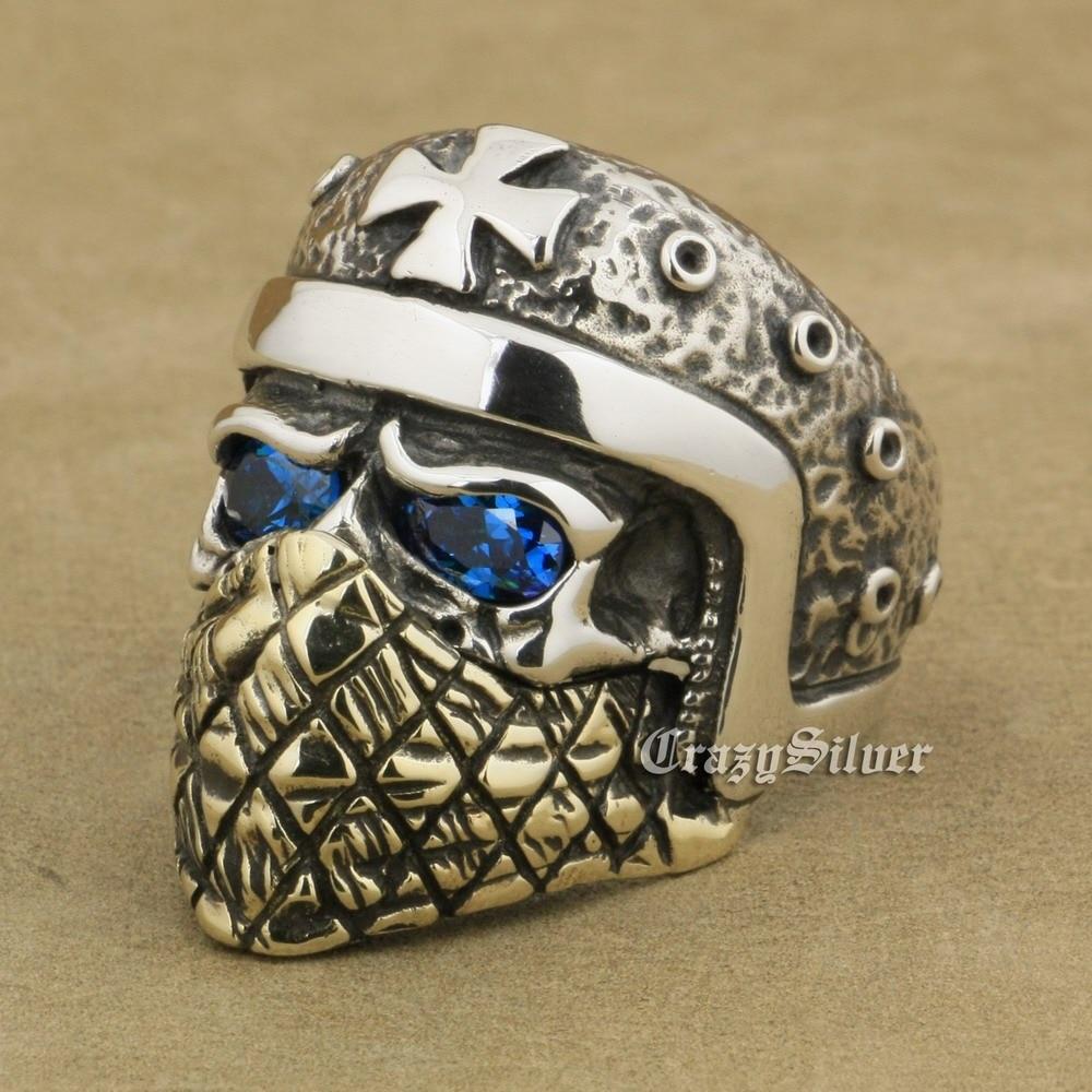 925 Sterling Silver Motorcycle Helmet Skull Ring Blue CZ Eyes Brass Mask TA24A 925 Sterling Silver Motorcycle Helmet Skull Ring Blue CZ Eyes Brass Mask TA24A