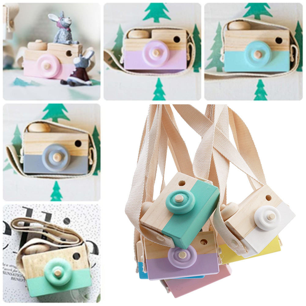 Mini Cute Wood Camera Toys For Baby Children Fashion Clothing Accessory Toys Safe Natural Toy Birthday Christmas Holiday Gifts