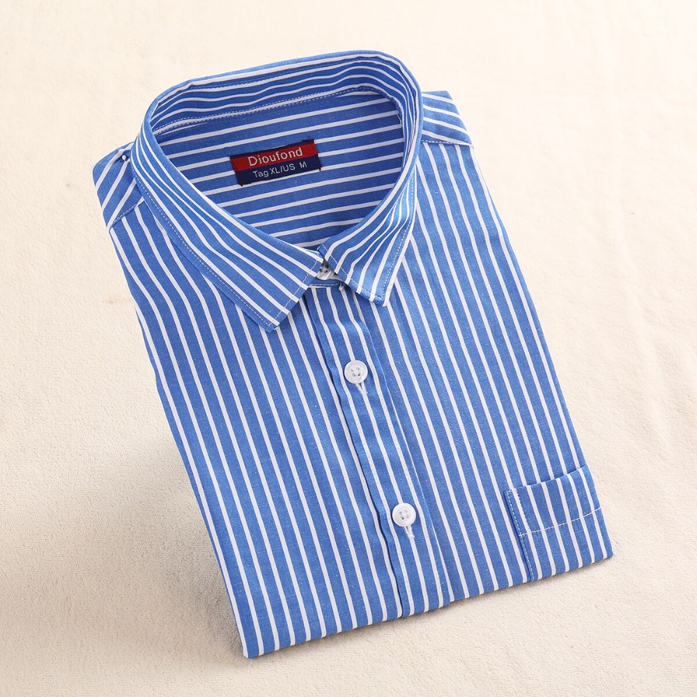748aca52 Dioufond Striped Blouse Shirt Long Sleeve Cotton Work Striped Shirt Red  Blue Ladies Office Shirts Shool Chemisier Femme Regular -in Blouses & Shirts  from ...