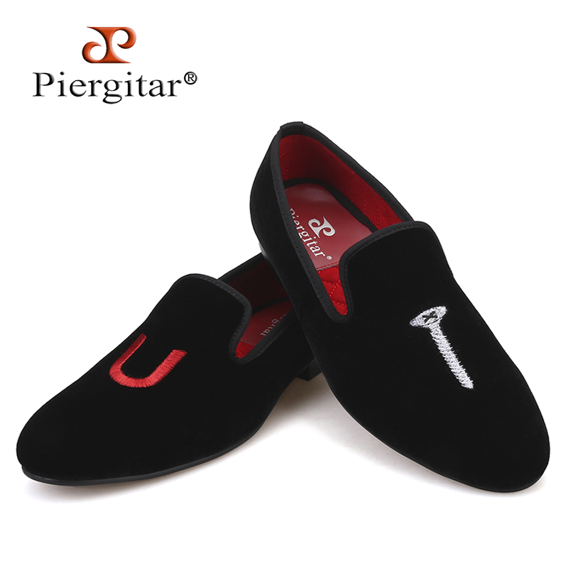 Piergitar 2019 Handmade Men Shoes  Exquisite Embroidery Smoking Slippers Party And Wedding Men Loafers Plus Size Male Flats