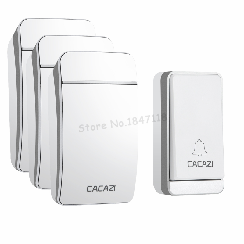 CACAZI Wireless Doorbell No Battery Waterproof EU/UK/US Indicator light 200M Remote Door Bells 1 Self-Powered Button 3 Receivers