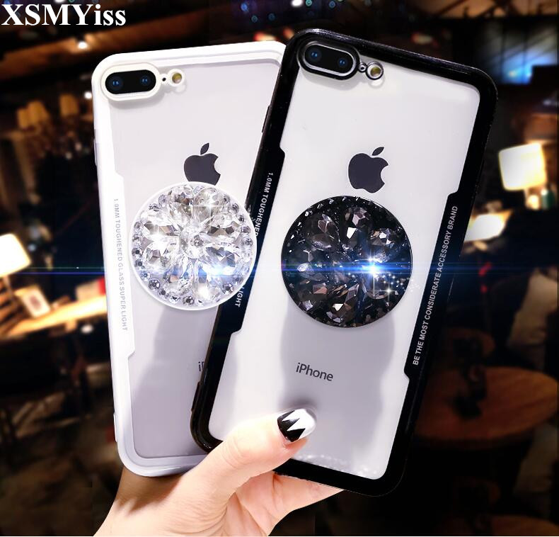 For Iphone 6 6S 7 8 Plus X XS MAX XR Imitation Acrylic Glass Luxury Airbag  Bracket Rhinestones Diamond Glitter Cover Crystal -in Rhinestone Cases from  ... ddd78404f5a1