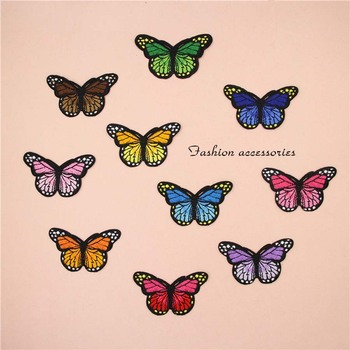 Fabric Embroidered Colored Butterfly Patch Clothes Sticker Bag Sew Iron On Applique DIY Apparel Sewing Clothing Accessories B146 - discount item  25% OFF Arts,Crafts & Sewing