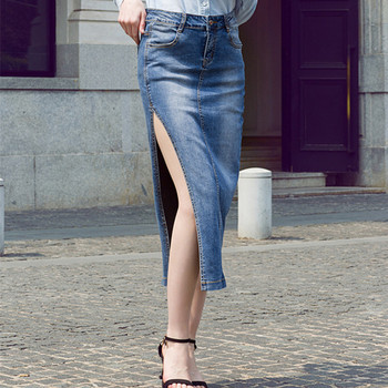 Free Shipping 2019 New High Waist Summer Long Mid-calf Sexy Women Pencil Skirt With Side Slit XS-XL Jeans Denim Stretch Skirts free shipping 2020 new fashion wool elegant long mid calf women skirts pencil s xl high waist autumn and winter striped skirts