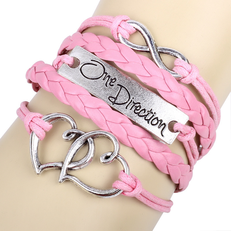 Elegant Pink Color English Letter One Direction Double Heart Infinity Multilayer Weave Lobster Clasp Leather Bracelets TH-B16